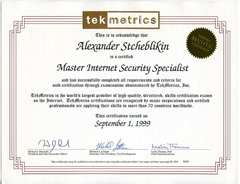 Master Internet Security Specialist (TekMetrics)